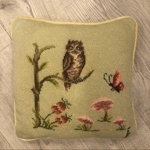 Vintage Handmade Needlepoint Pillow Owl Mushrooms